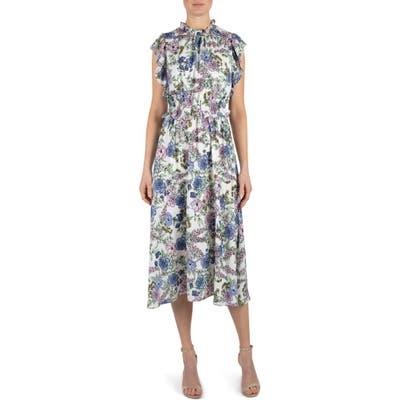 Julia Jordan Floral High Neck Ruffle Sleeve Dress, White