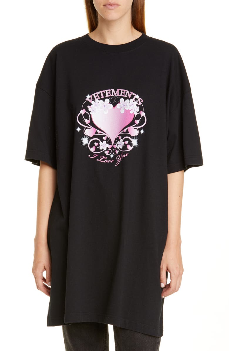 VETEMENTS Valentines Print Oversize Cotton Tee, Main, color, BLACK
