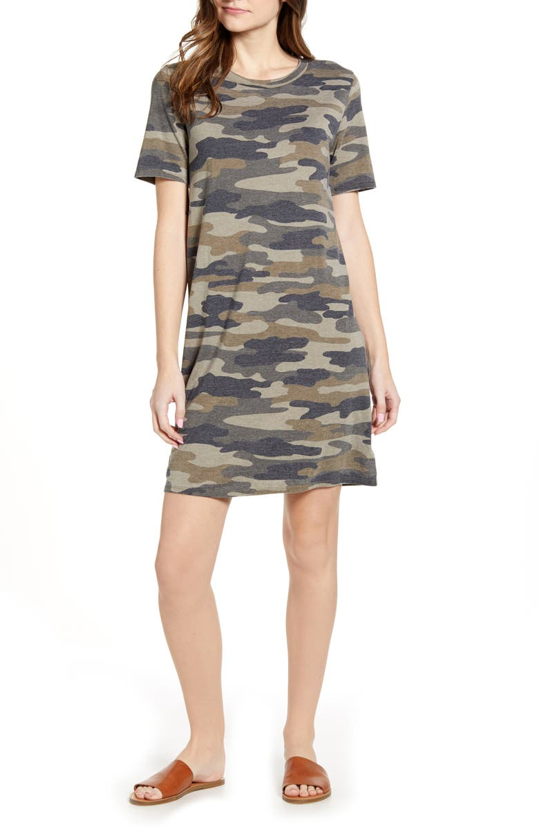 LUCKY BRAND The Summer T-Shirt Dress, Main, color, GREEN MULTI