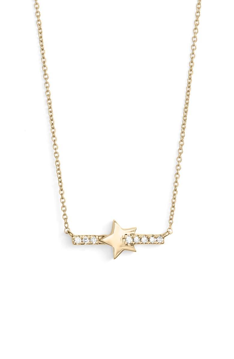 DANA REBECCA DESIGNS Livi Gold Star Bar Diamond Necklace, Main, color, 710