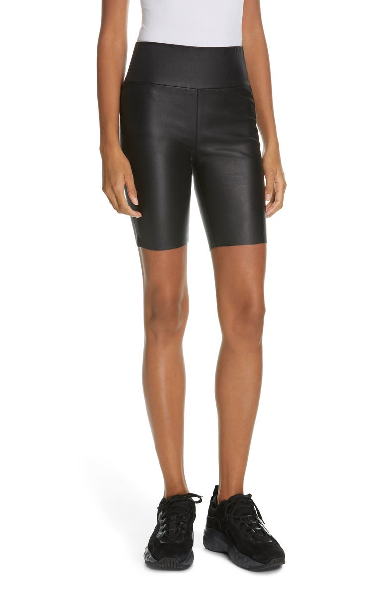SPRWMN Leather Bike Shorts, Main, color, 001