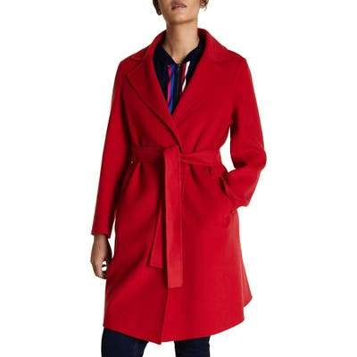 Plus Size Marina Rinaldi Tabor Belted Wool Blend Coat, Red