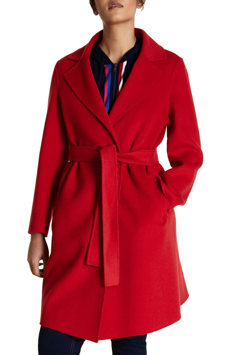 MARINA RINALDI Tabor Belted Wool Blend Coat, Main, color, RED