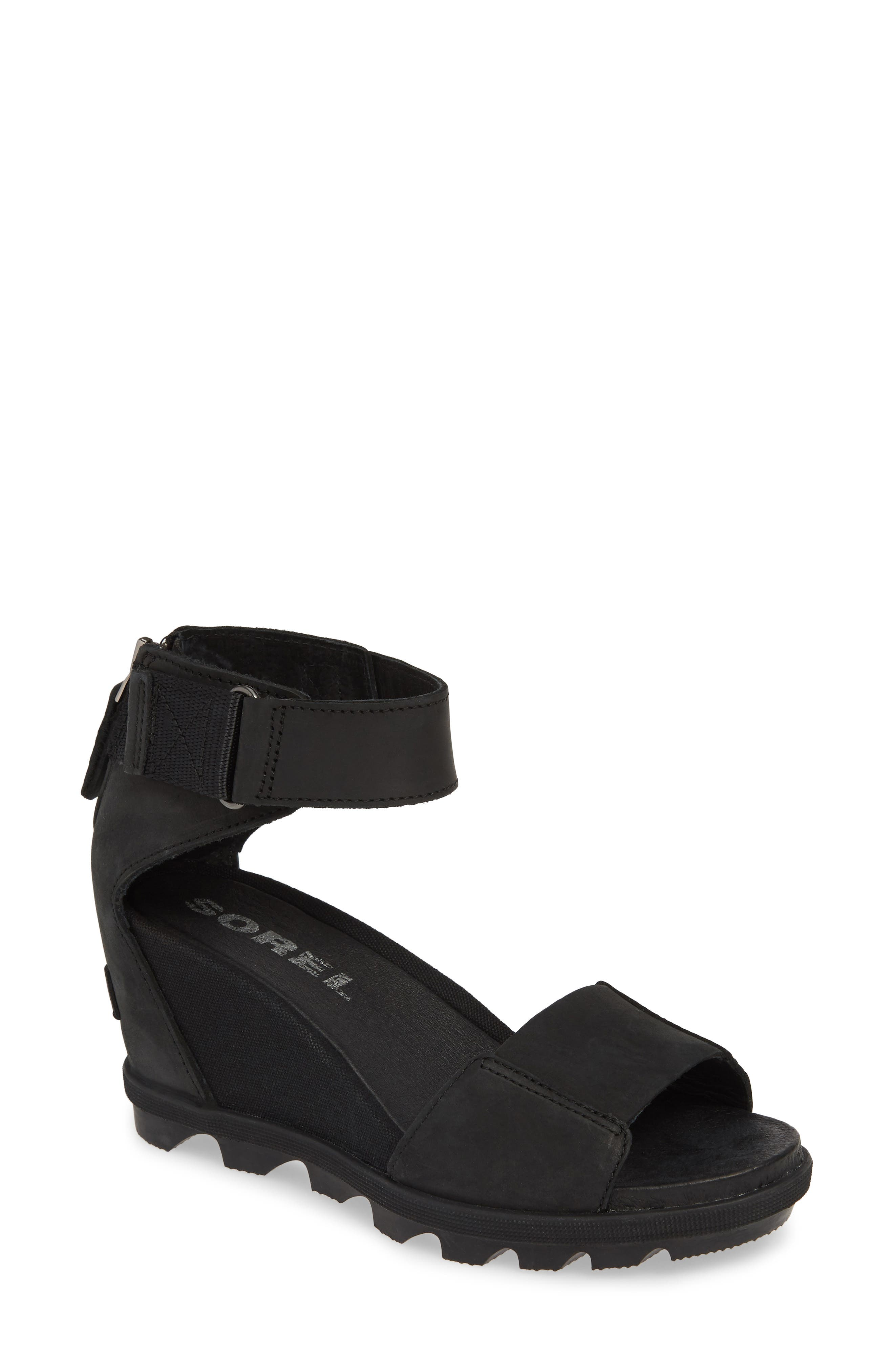 Sorel Joanie Ii Ankle Strap Wedge Sandal- Black