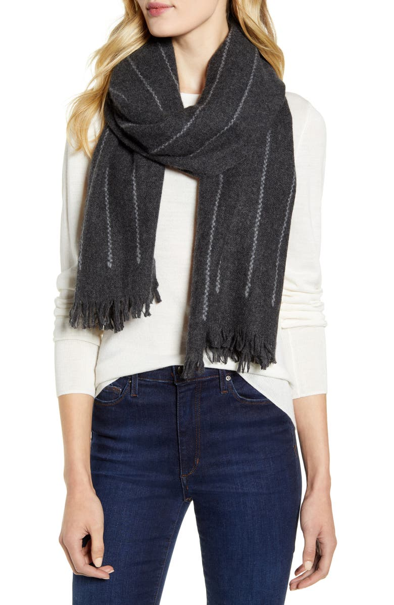 NORDSTROM Cashmere Scarf, Main, color, GREY DARK CHARCOAL