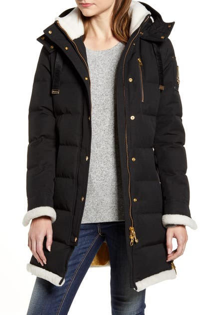 Moose Knuckles MONT JOLI GENUINE SHEARLING TRIM HOODED DOWN JACKET
