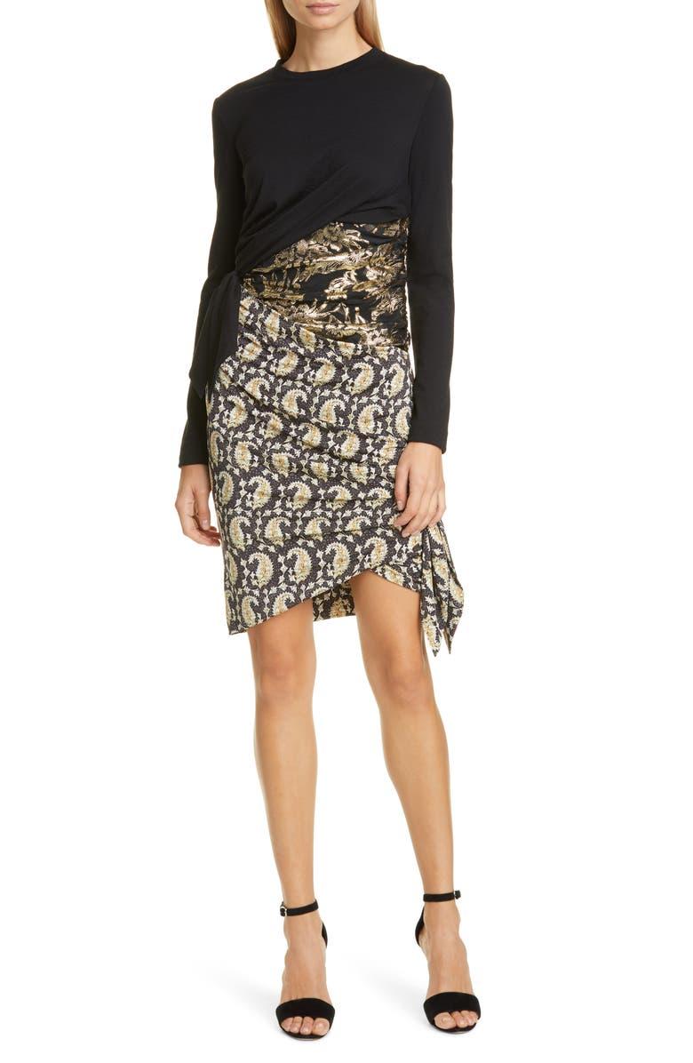ALTUZARRA Ruched Patchwork Long Sleeve Minidress, Main, color, NEUTRAL