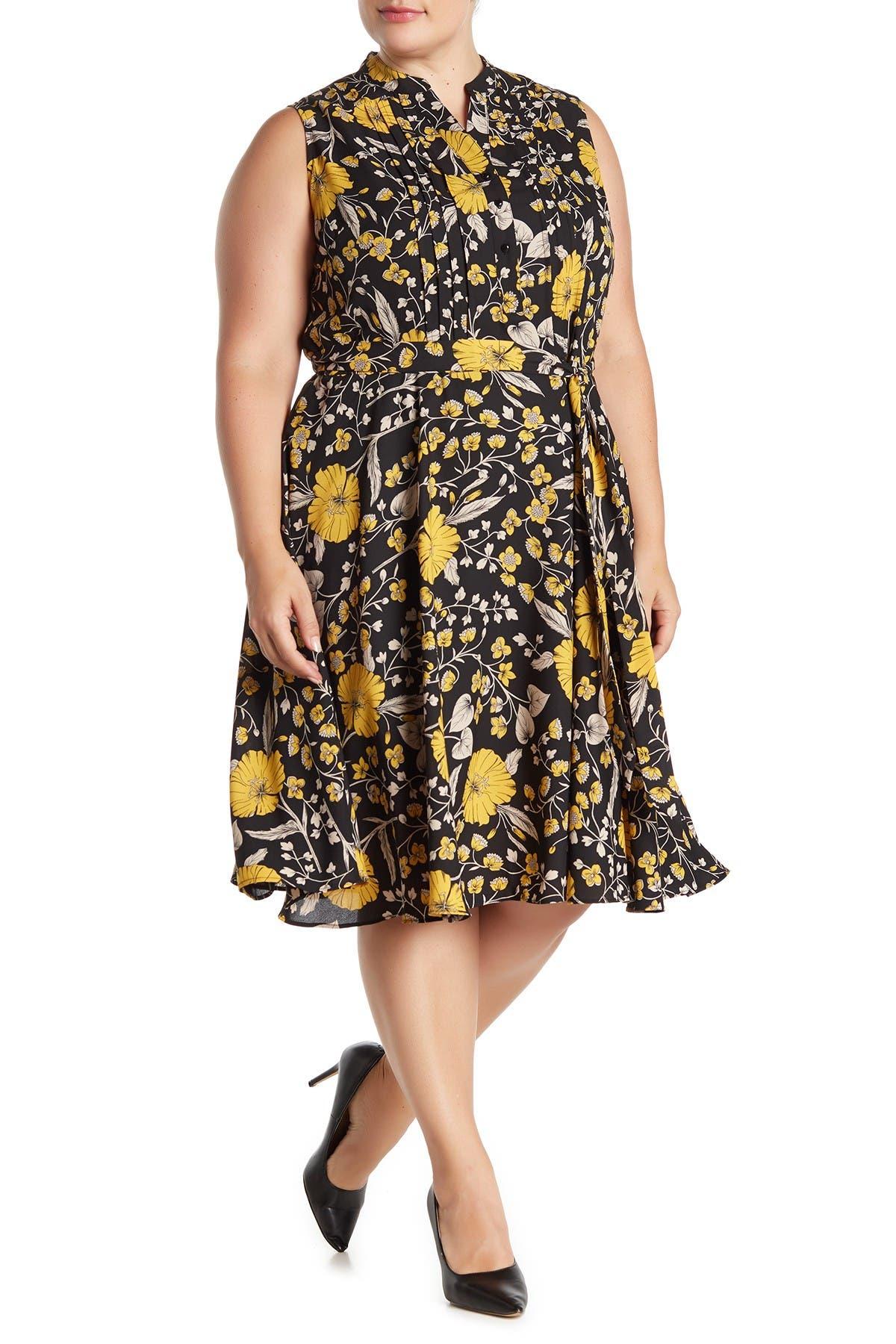 Image of NANETTE nanette lepore Sleeveless Floral Print Pintuck Pleat Dress