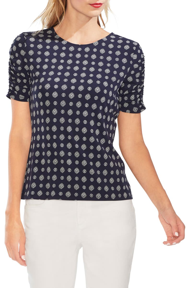 Vince Camuto Textured Foulard Ruched Sleeve Top