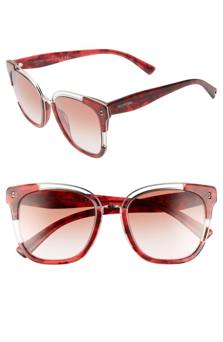 VALENTINO 54mm Square Sunglasses, Main, color, RED HAVANA/ BROWN GRADIENT