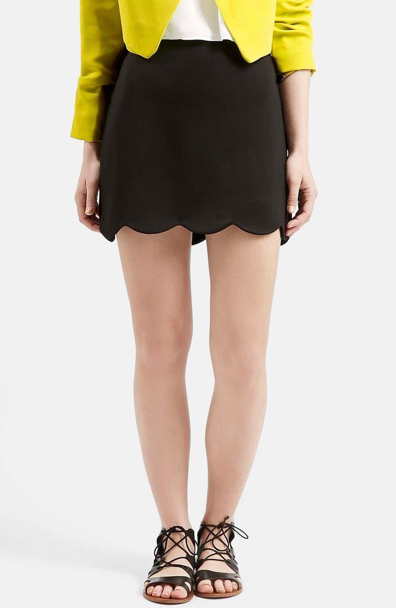 TOPSHOP Scallop Hem Miniskirt, Main, color, 001