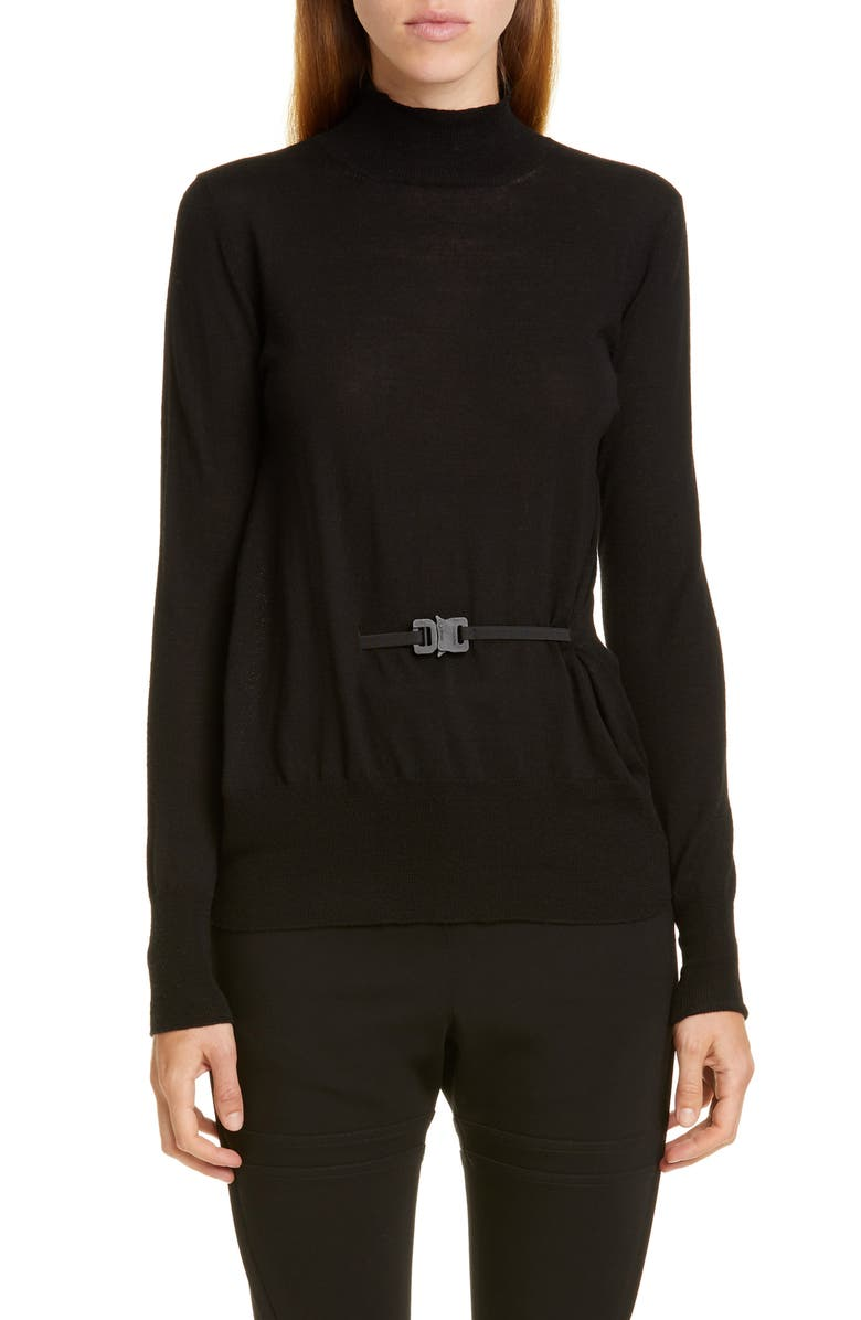 1017 ALYX 9SM Belted Merino Turtleneck Sweater, Main, color, BLACK