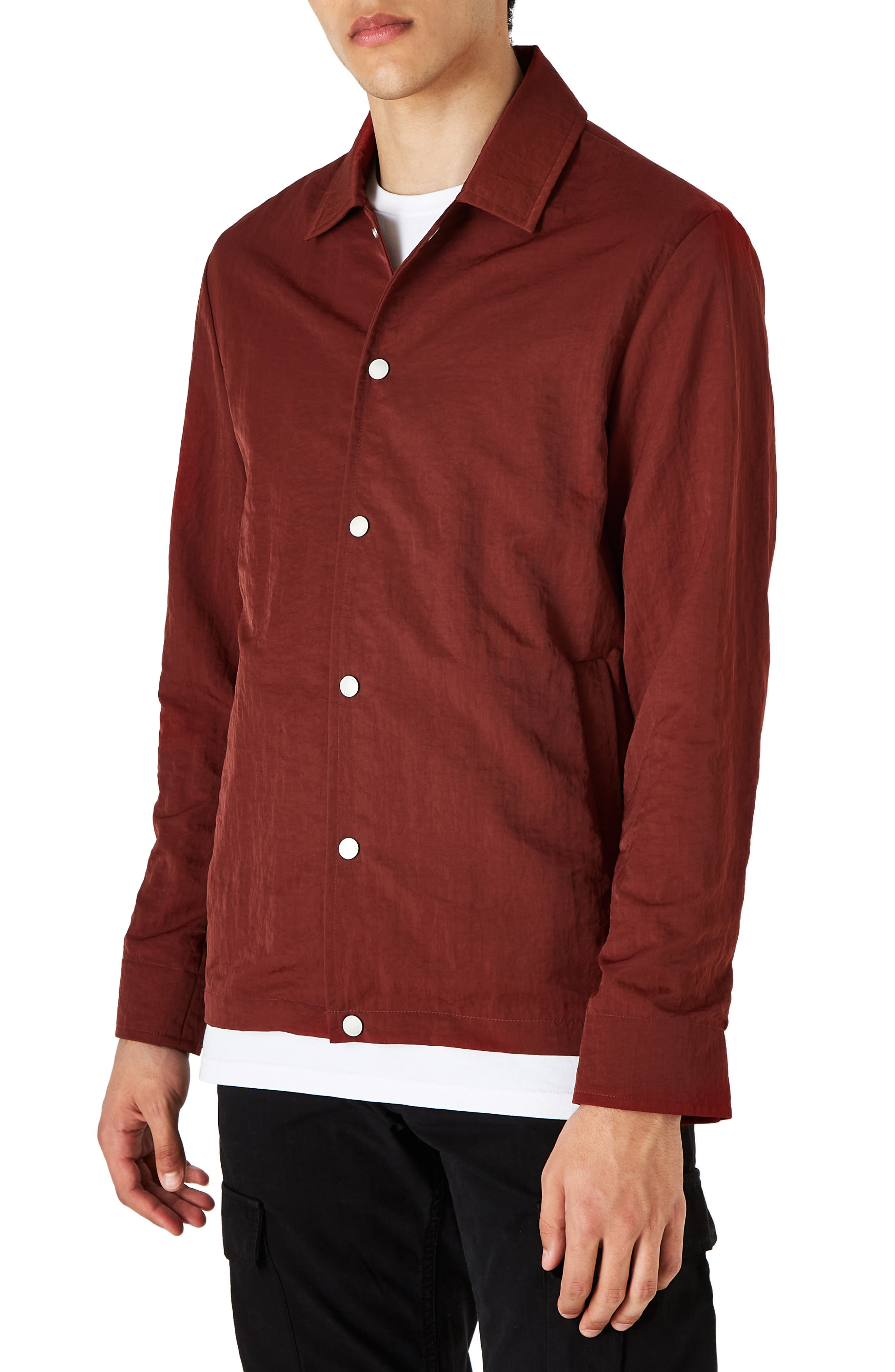 Men s Wax London Berg Snap Front Nylon Shirt Jacket