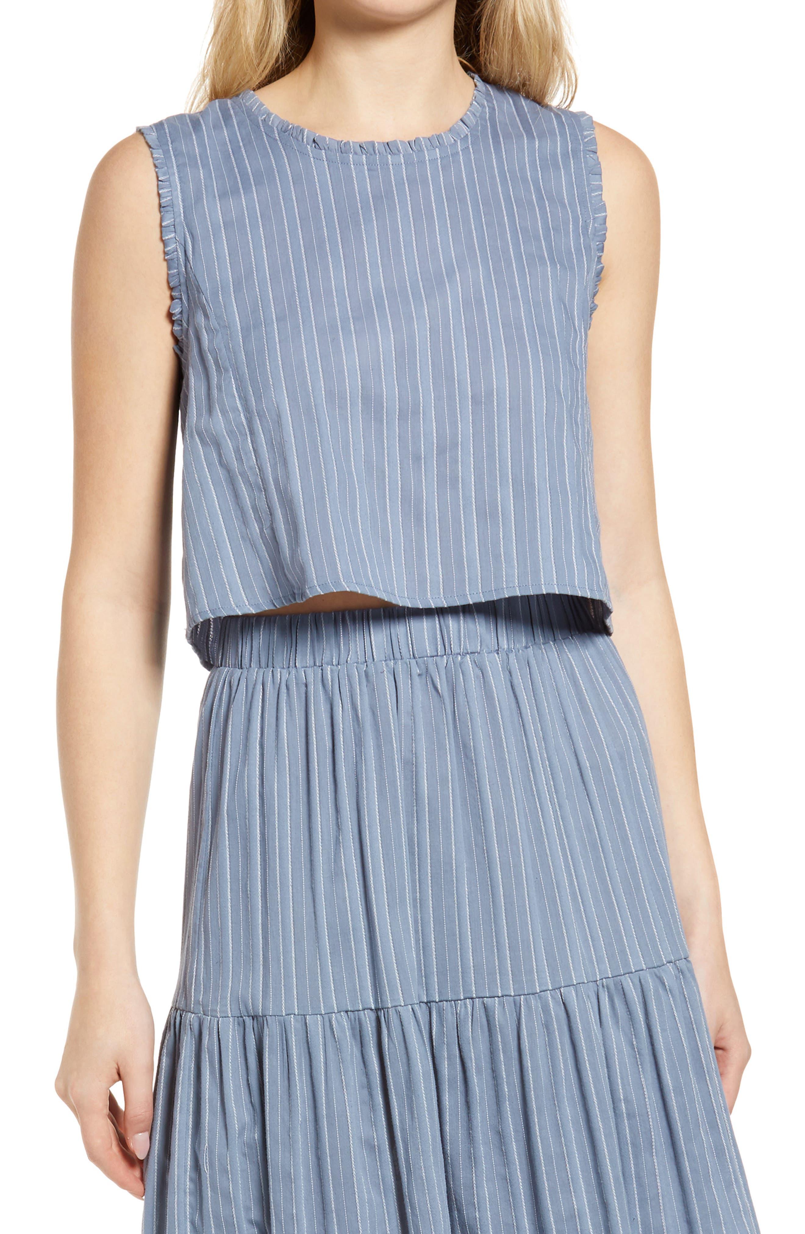Skylar Stripe Cotton Blend Sleeveless Blouse