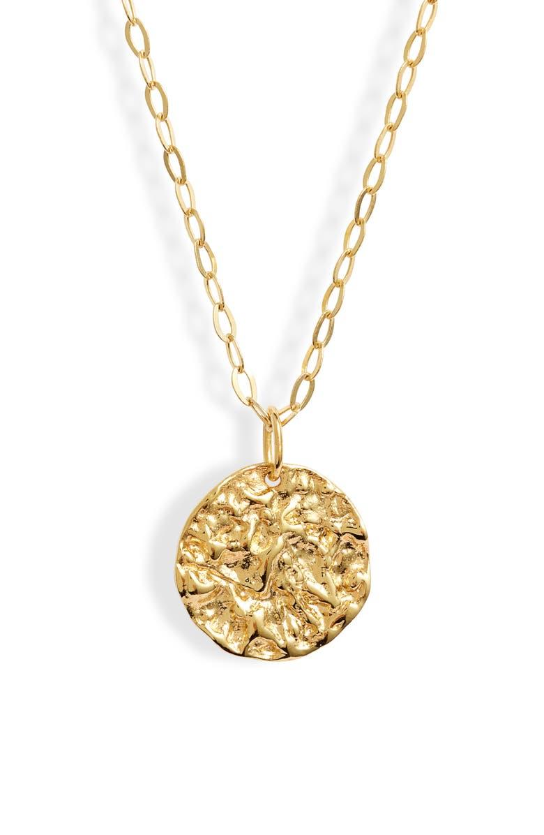 ARGENTO VIVO Molten Medallion Pendant Necklace, Main, color, GOLD