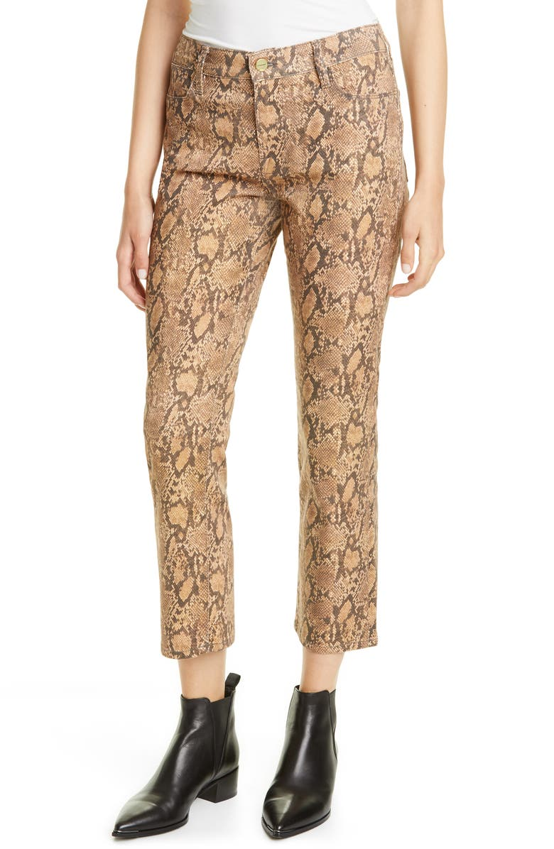 FRAME Le High Skinny Snake Embossed Coated Jeans, Main, color, 200