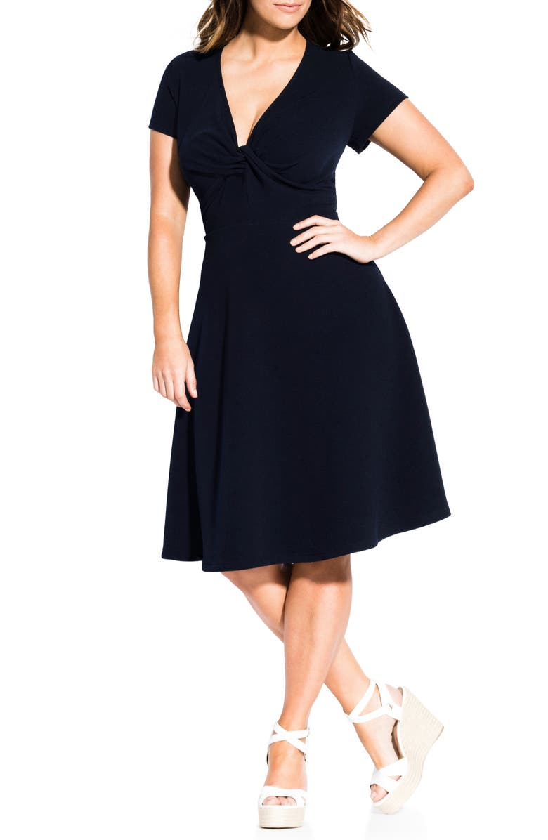 CITY CHIC Plunge Twist Neck Fit & Flare Dress, Main, color, NAVY