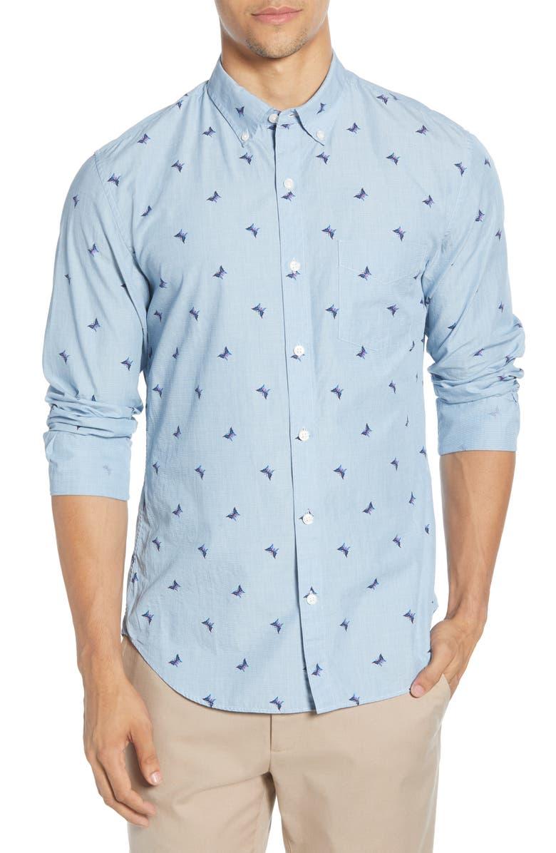 BONOBOS Slim Fit Washed Button-Down Shirt, Main, color, 400