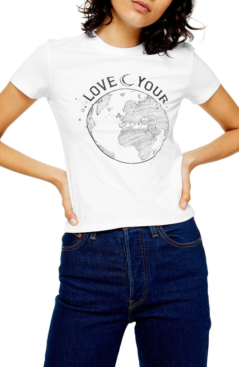 TOPSHOP Love Your World Tee, Main, color, WHITE MULTI