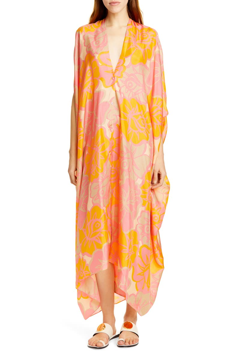 RODEBJER Agave Block Rose Print Silk Caftan Dress, Main, color, PINK PEACH