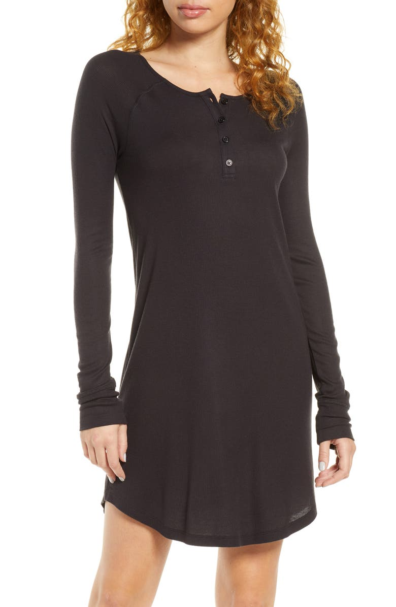 TOMMY JOHN Henley Sleep Dress, Main, color, BLACK