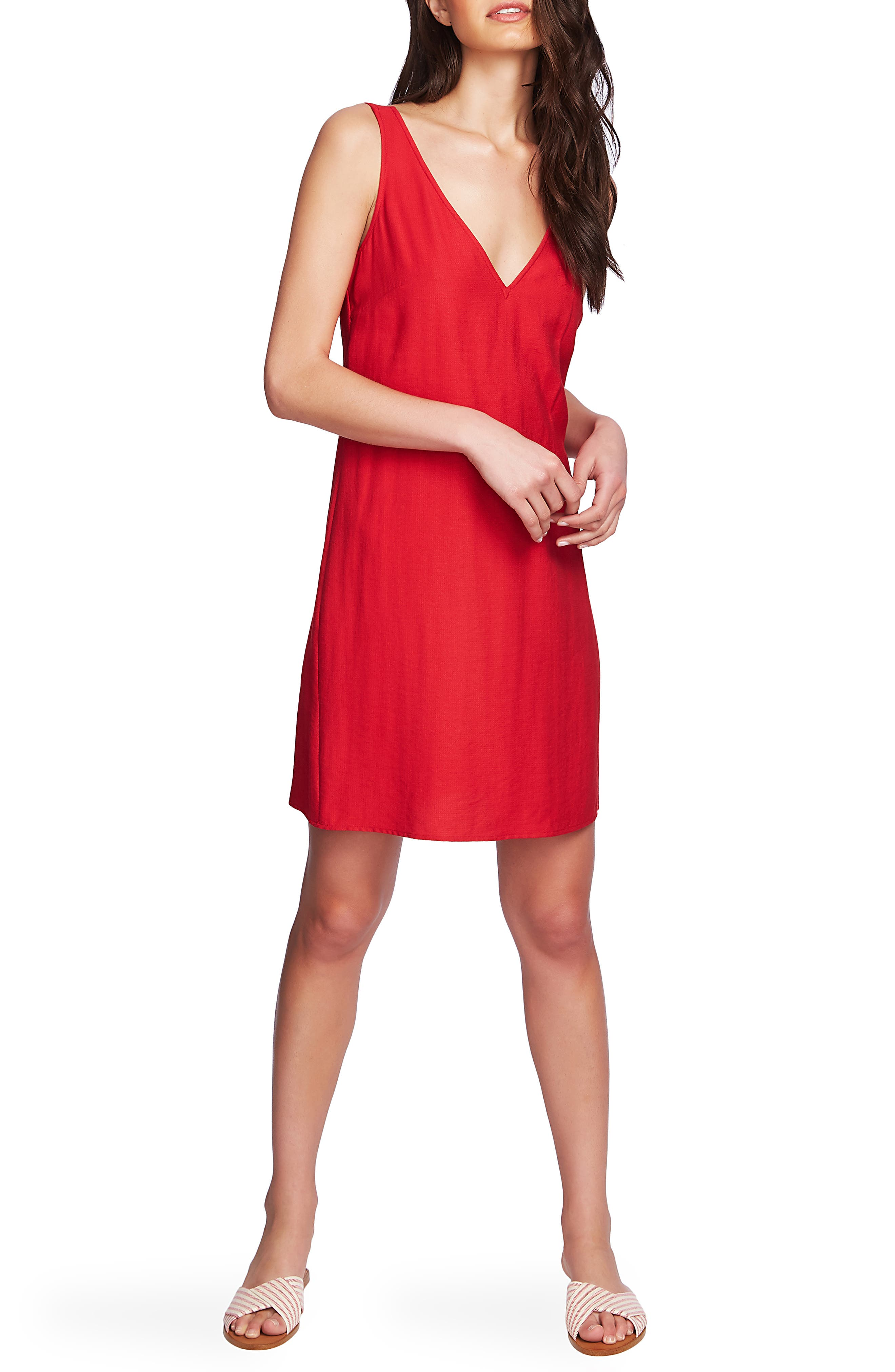1.state Sleeveless Tie Back Shift Dress, Red