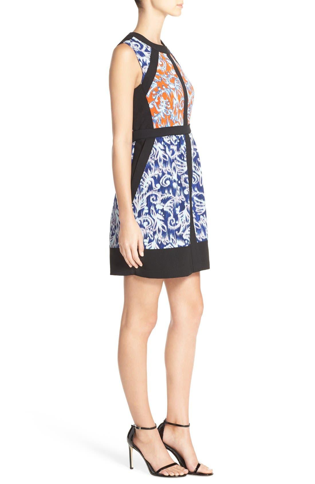 ,                             'Donatella' Banded Crepe Fit & Flare Dress,                             Alternate thumbnail 6, color,                             806