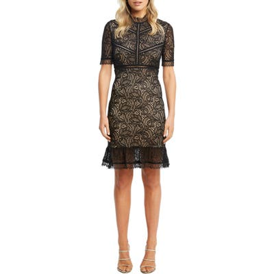 Bardot Theodora Lace Sheath Minidress, Black