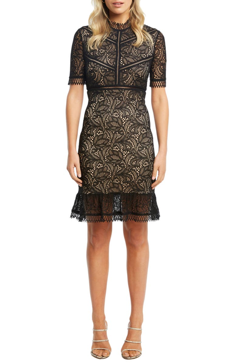 BARDOT Theodora Lace Sheath Minidress, Main, color, BLACK