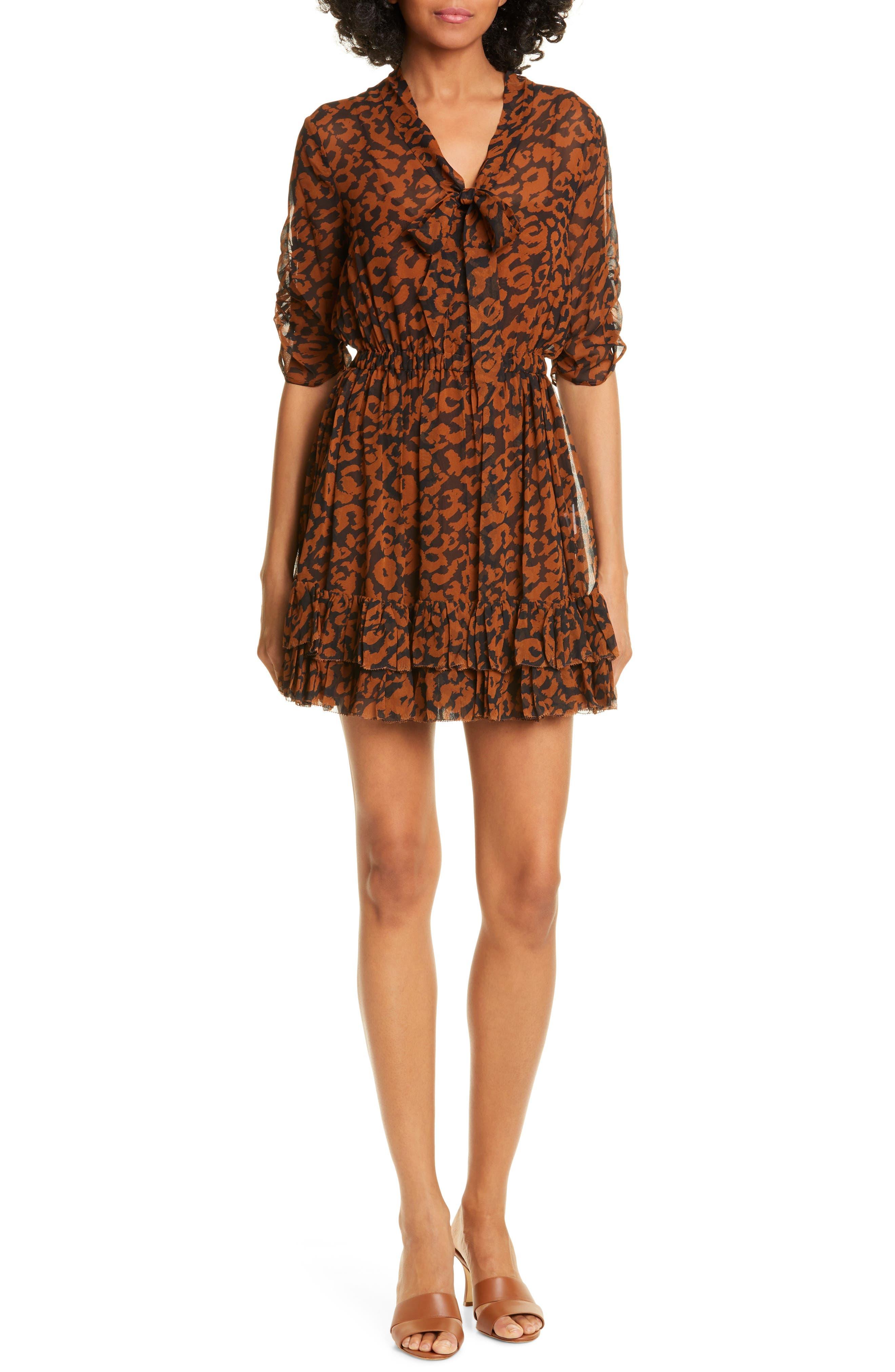 Nicholas Animal Print Ruffle Silk Minidress, Brown