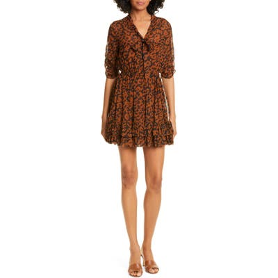 Nicholas Print Ruffle Silk Minidress, Brown