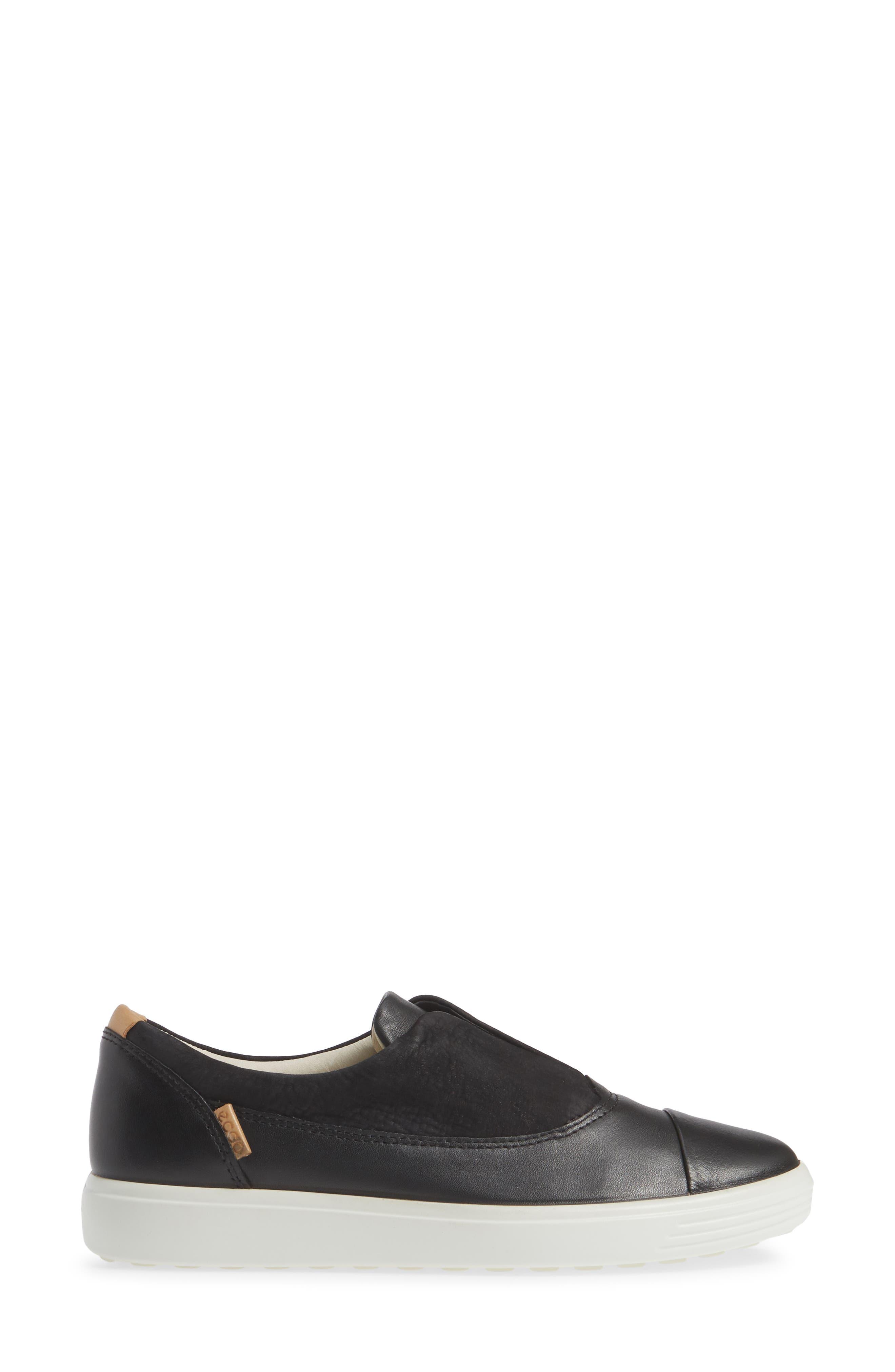 ,                             Soft 7 II Slip-On Sneaker,                             Alternate thumbnail 3, color,                             BLACK LEATHER