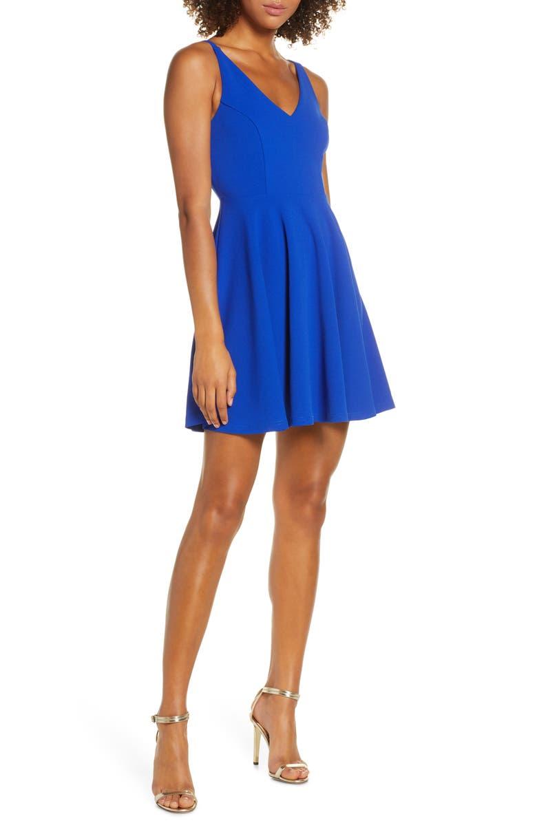 LULUS Darling Delight Skater Dress, Main, color, 400