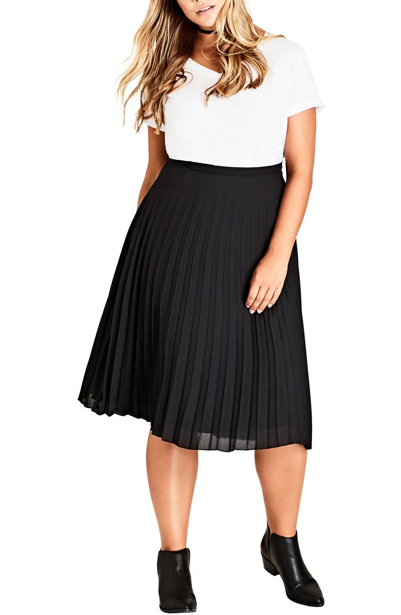 CITY CHIC Sheer Pleat Skirt, Main, color, 001