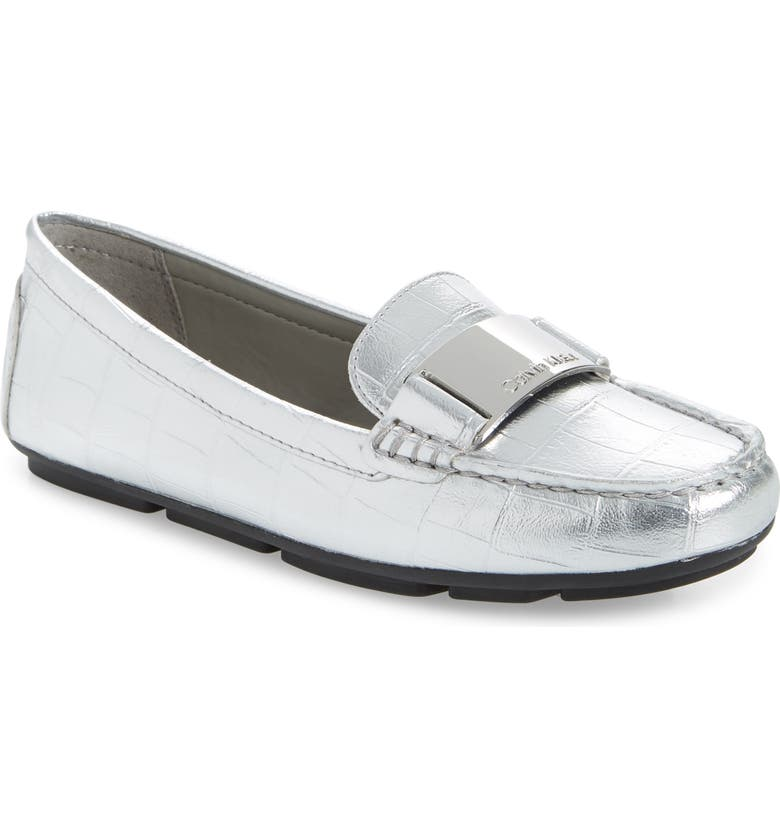 CALVIN KLEIN Lisette Loafer, Main, color, SILVER CROCO EMBOSSED LEATHER
