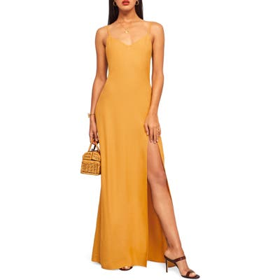 Reformation Harlowe V-Neck Maxi Dress, Yellow