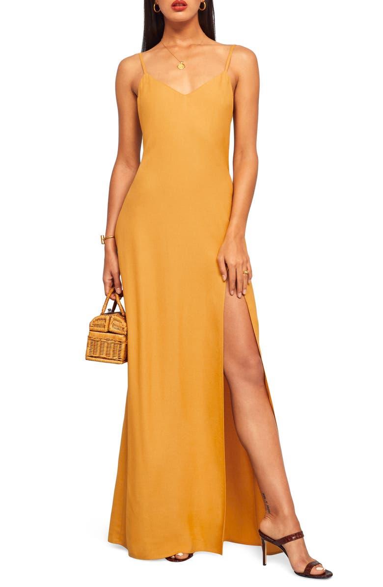 REFORMATION Harlowe V-Neck Maxi Dress, Main, color, OCHRE
