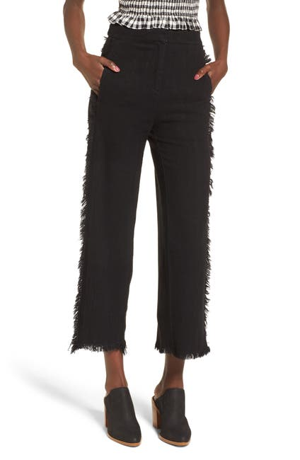 Image of Moon River Fringe Trim Wide Leg Pants