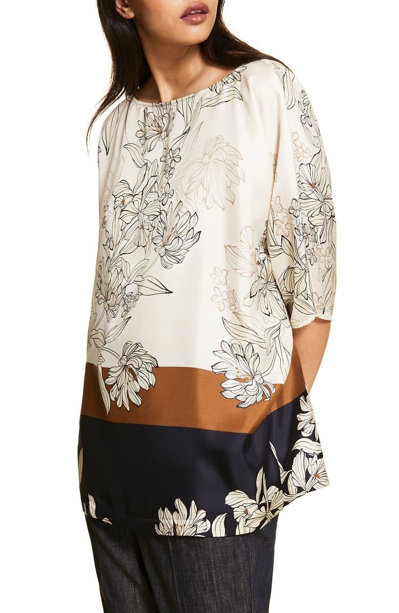 MARINA RINALDI Famoso Printed Silk Tunic Top, Main, color, NAVY