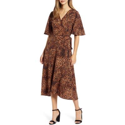 Bobeau Orna Print Wrap Dress, Beige