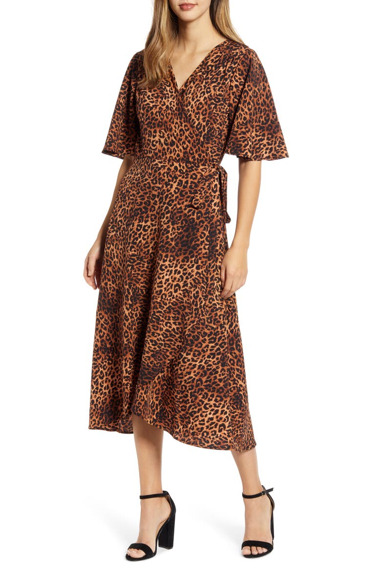 BOBEAU Orna Print Wrap Dress, Main, color, TEXTURED LEOPARD