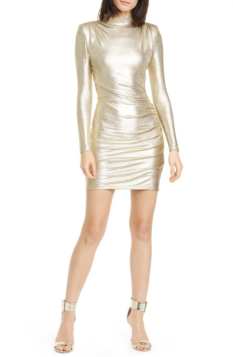 ALICE + OLIVIA Hilary Metallic Long Sleeve Sheath Dress, Main, color, PALE GOLD