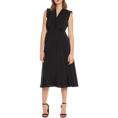 Vince Camuto Ruffle Detail Crepe A-Line Dress, Black