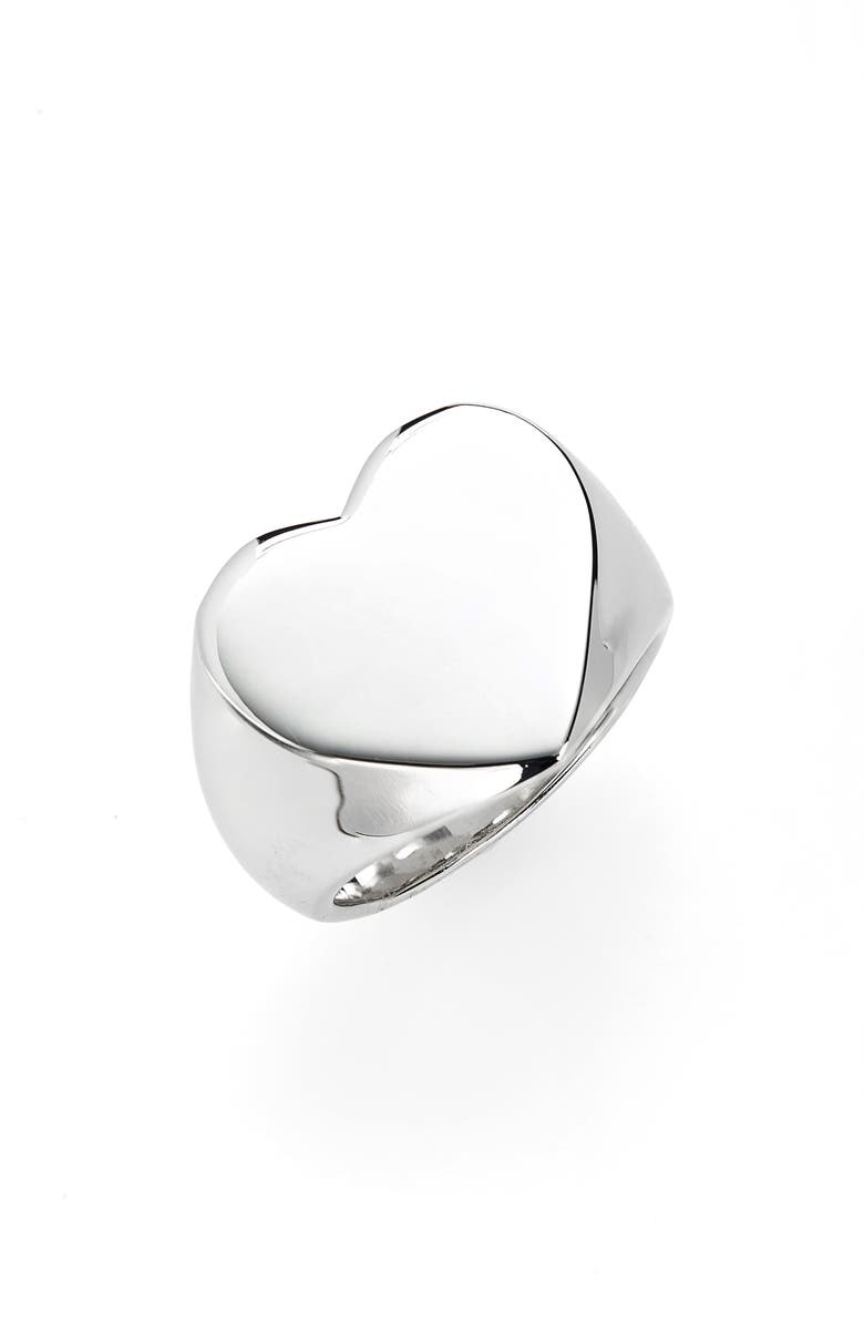 TOM WOOD Heart Signet Ring, Main, color, 925 STERLING SILVER