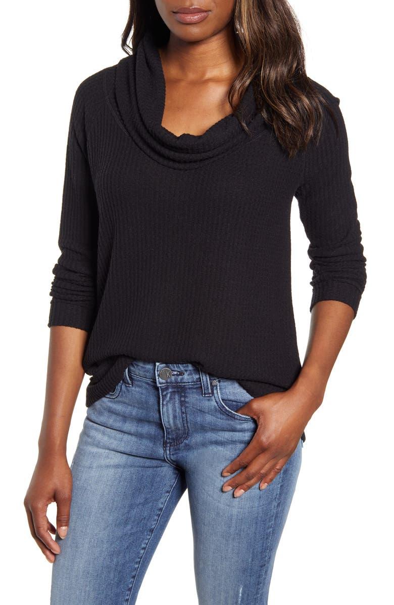 CASLON<SUP>®</SUP> Cowl Neck Waffle Knit Top, Main, color, BLACK