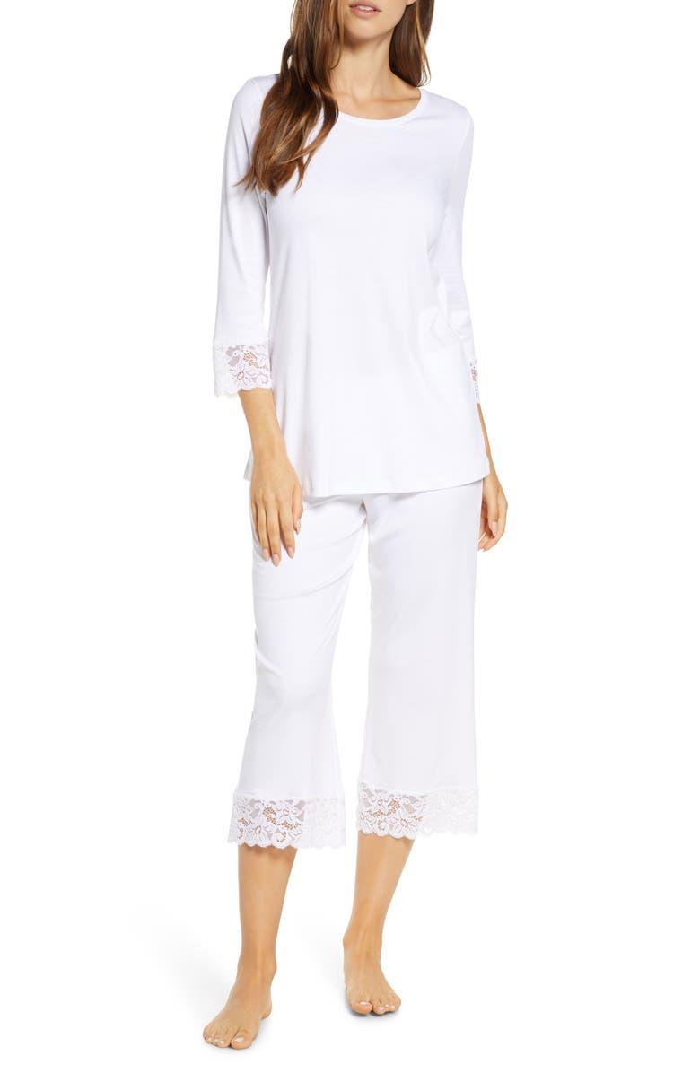 HANRO Moments Lace Trim Crop Pajamas, Main, color, WHITE