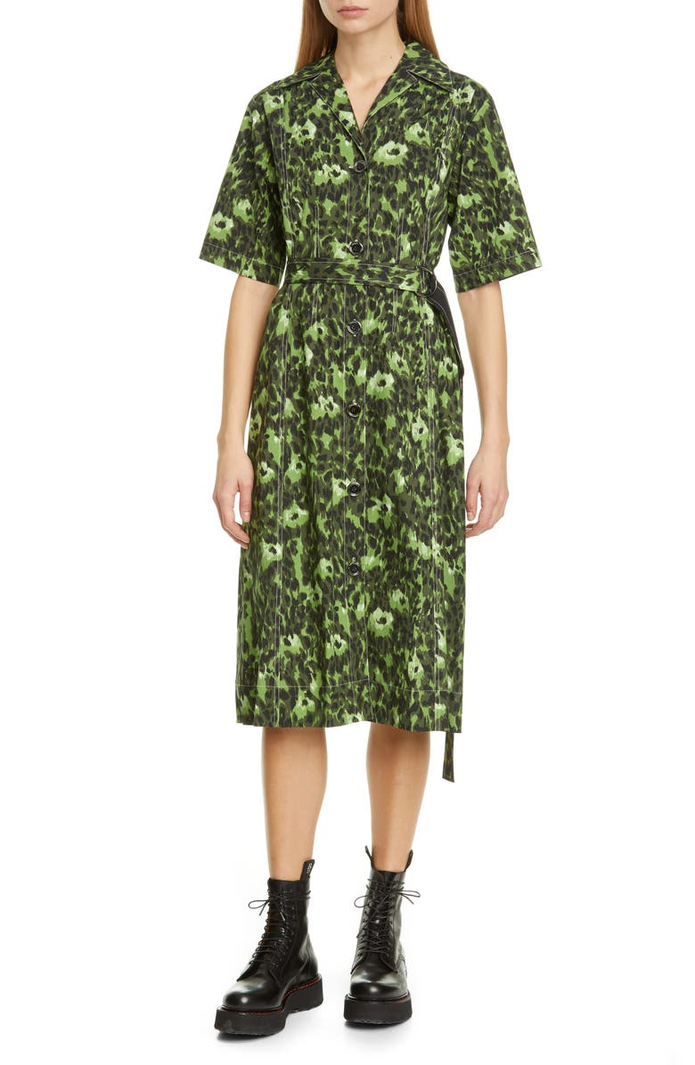 MARNI Cheetah Camo Print Stretch Cotton Shirtdress, Main, color, DARK OLIVE