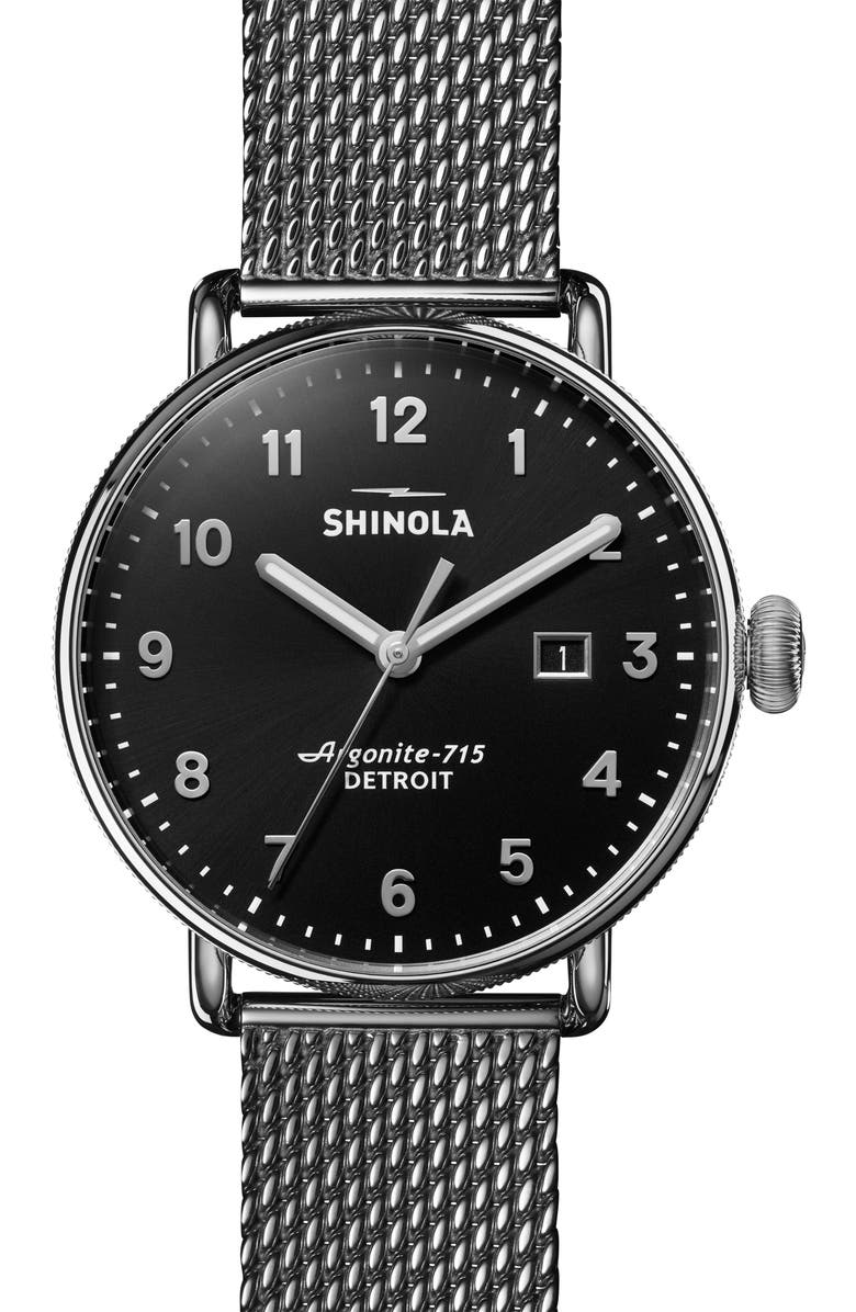 SHINOLA The Canfield Mesh Bracelet Watch, 43mm, Main, color, 020