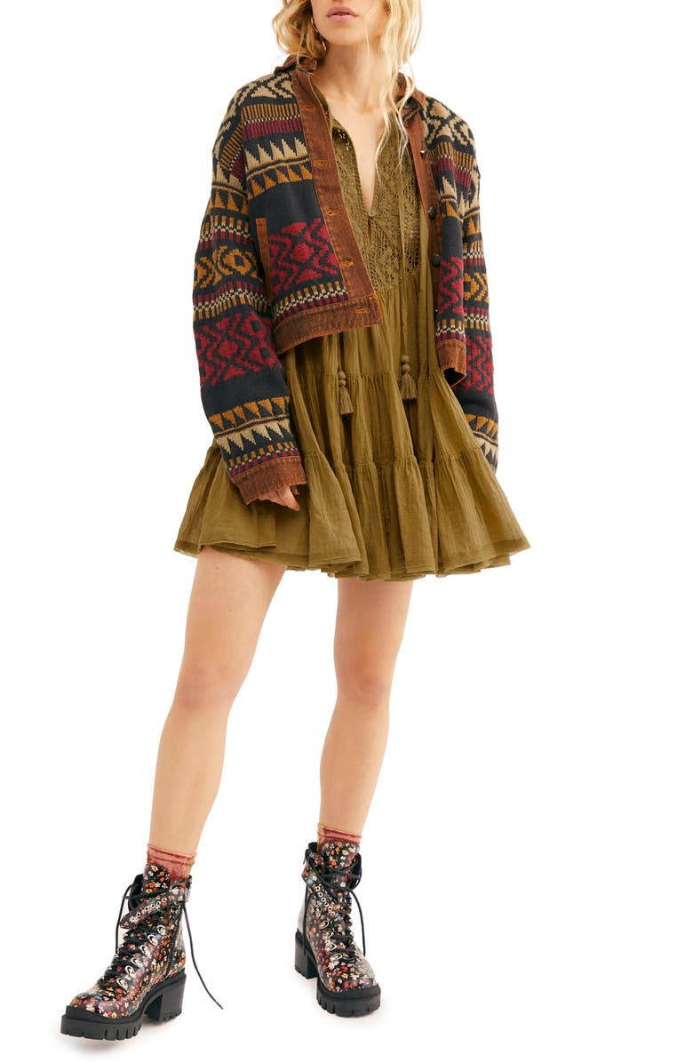 FREE PEOPLE Endless Summer by Free People Something Special Long Sleeve Minidress, Main, color, BRONZE DANCE