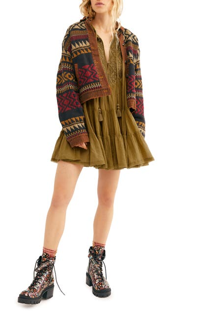 Free People SOMETHING SPECIAL LONG SLEEVE MINIDRESS